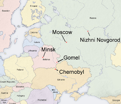 Map of Europe showing how far Gomel is from Chernobyl