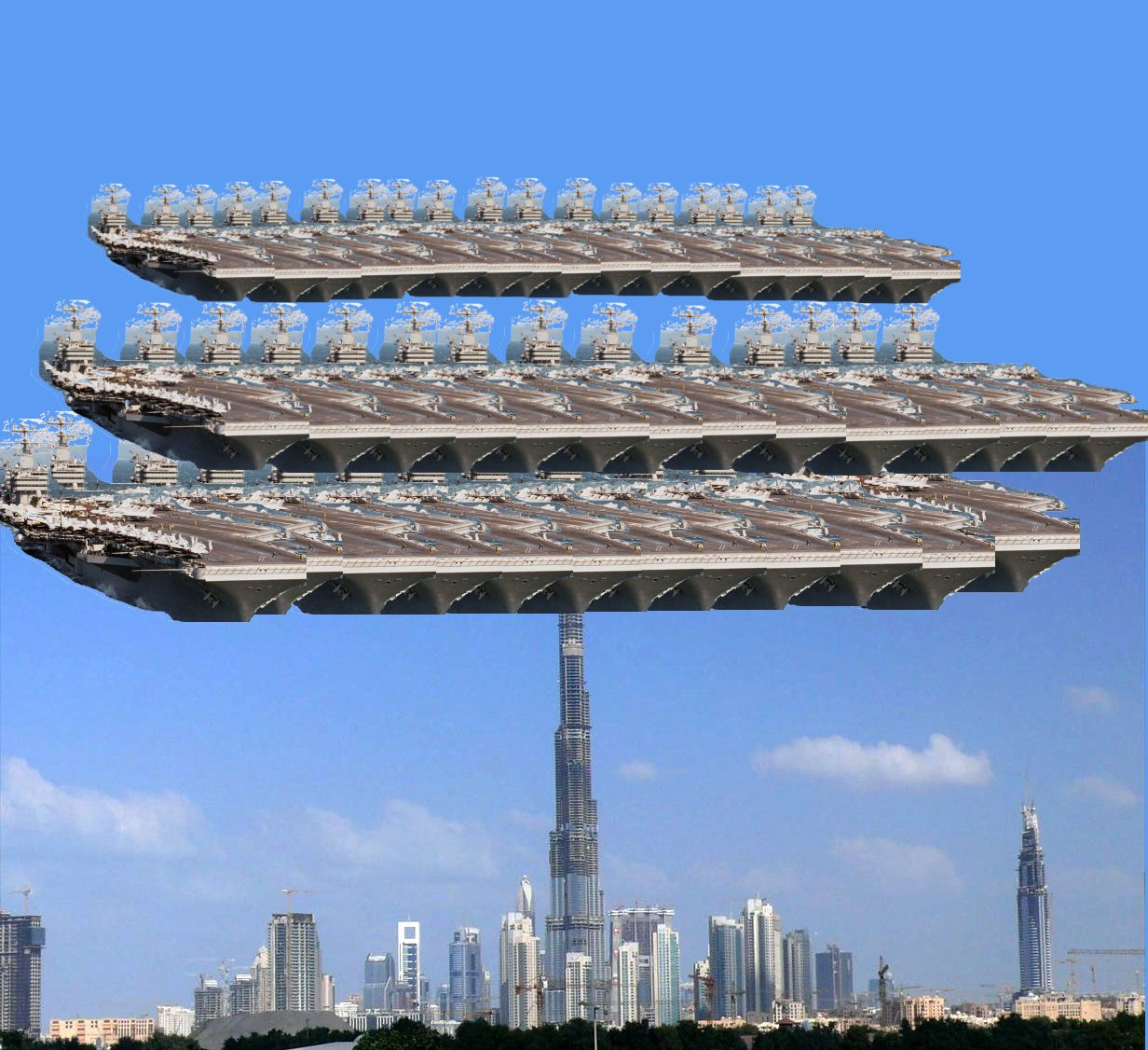44 aircraft carriers on top of the Burj Dubai