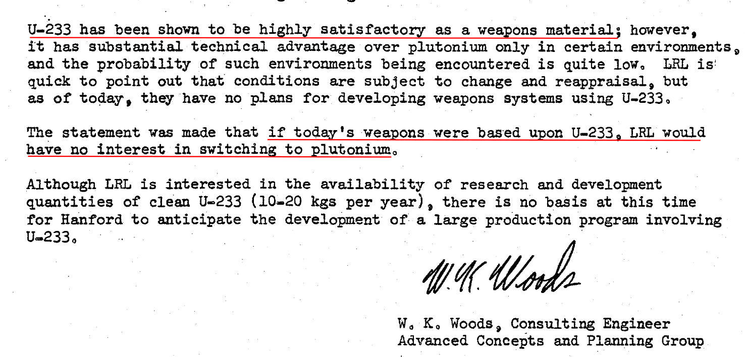 Letter from Livermore lab about how good U-233 is as a weapons material